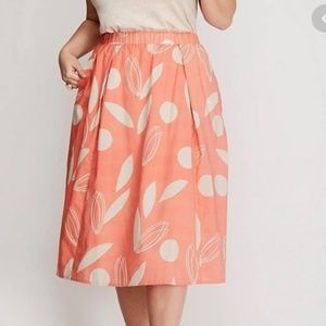 Lane Bryant Floral Print Skirt Lined Coral/Cream